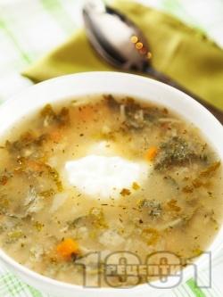 Постна супа от коприва, с лук, моркови, домати от консерва, фиде и застройка от кисело мляко и яйце - снимка на рецептата